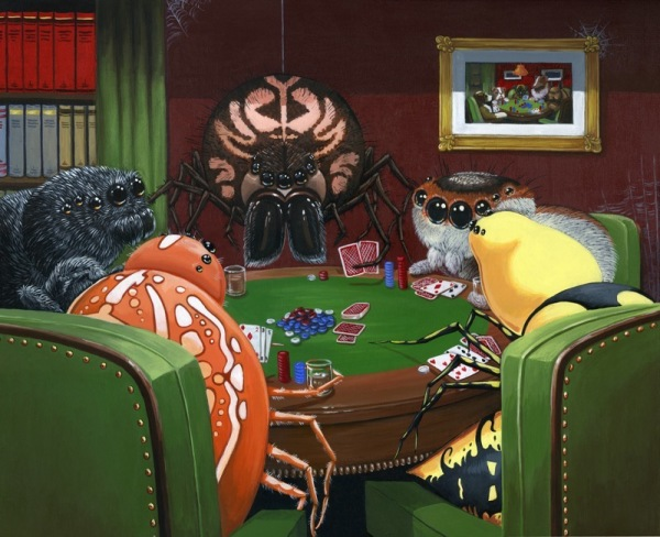 Spiders Playing Poker