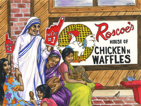 Mother Teresa, Roscoe's Chicken N Waffles, Foam Finger